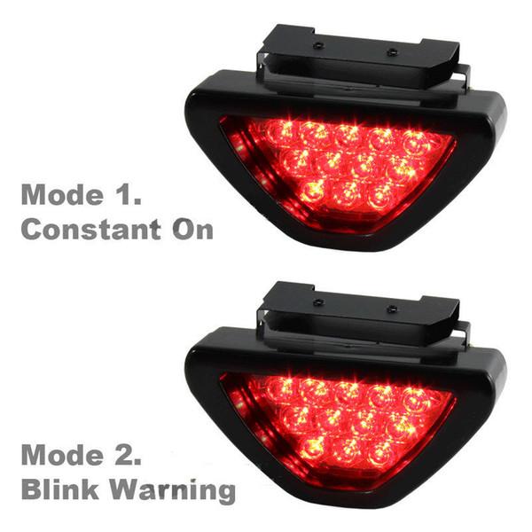 best selling Universal Red Car Vehicle 12 LED Rear Tail Brake DRL Stop Light Strobe Flash Fog Lamp F1 Style