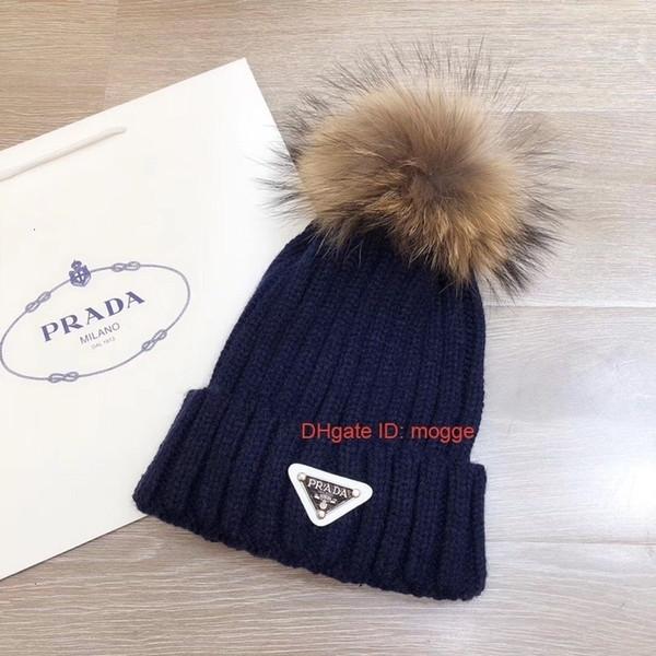 2018 Nova chapéu fêmea bonito do inverno Gorro Polo Bola Beads Quente acrílico Ladies Hat alta qualidade