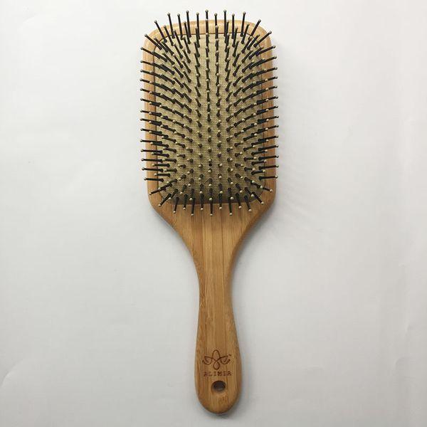 High quatity Wooden Big Size Comb Wooden Paddle Nylon Black Bristle Teeth with dot Square Hair Brush Antistatic Cushion Bamboo Hair Brush