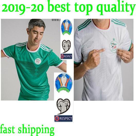 Hızlı gemi 2019 Cezayir Futbol Forması Yetişkin futbol gömlek 19 20 Cezayir uzakta yeşil futbol gömlek kısa kollu 2019 MAHREZ Futbol formaları