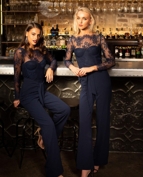 Hot Sale Jumpsuit Lace Prom Dresses Sheer Bateau Neck Long Sleeves Evening Gowns Plus Size Ankle Length Chiffon Formal Dress