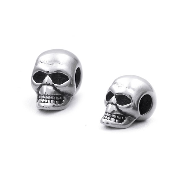 5mm Hole 316l Stainless Steel Punk Style Skull Head Beads Charms for Men String Bracelets Jewelry Making