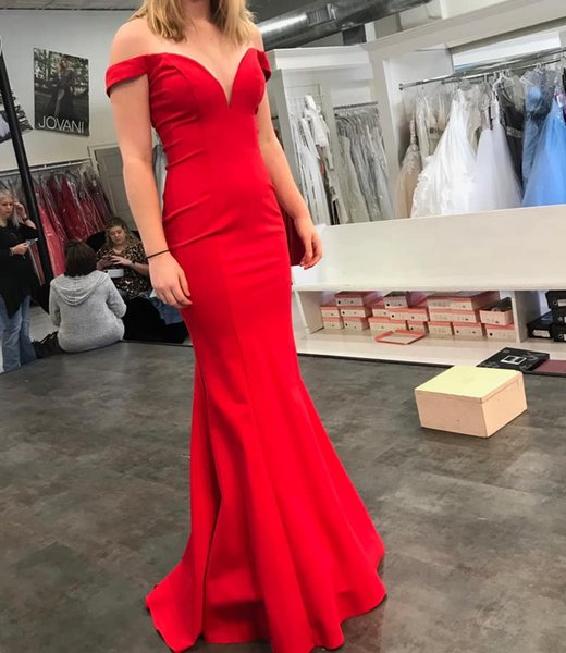 Simple Red Off the Shoulder Mermaid Long Prom Dress With Short Train 2019 New Teens Girls Formal Evening Party Dress Custom Made