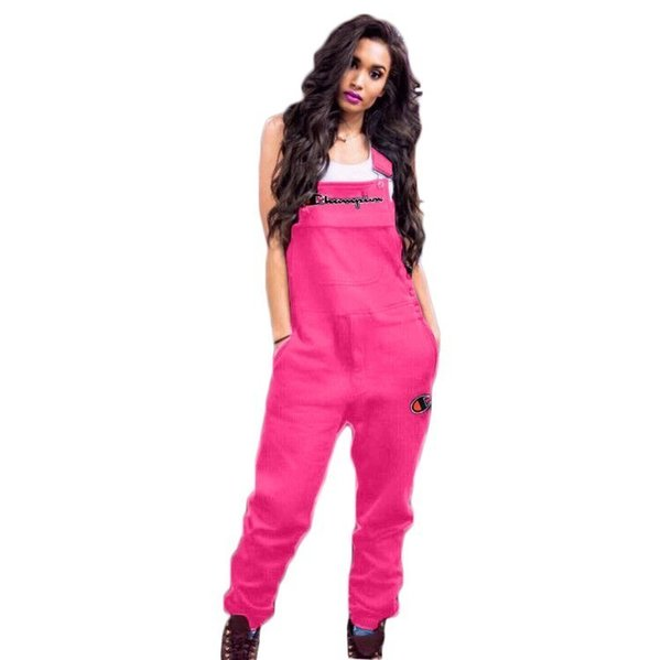 shop for official 100% satisfaction big discount sale 2019 Champions Jumpsuits Women Plus Size Ladies Candy Colored Suspenders  Cute Letter Sport Jumpsuits Casual Overalls Summer Chic Mini Shorts From ...