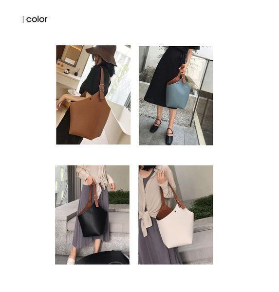 2019 yeni moda kova çanta, kadınlar için ilk katman kovboy deri rahat yumuşak çanta, basit büyük kapasiteli tek omuz çantası