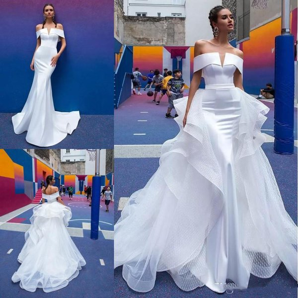 Berta 2019 Mermaid Wedding Dresses Detachable Tulle Train Off The Shoulder Short Sleeve Pleats Open Back Satin Beach Bridal Gowns