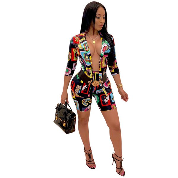 Women Paisley Blazers Shorts Set Ladies 3/4 Sleeve Coat Jacket with Shorts Tracksuit Sexy Printed Tailored Suit Party Club Cloth Set C61704