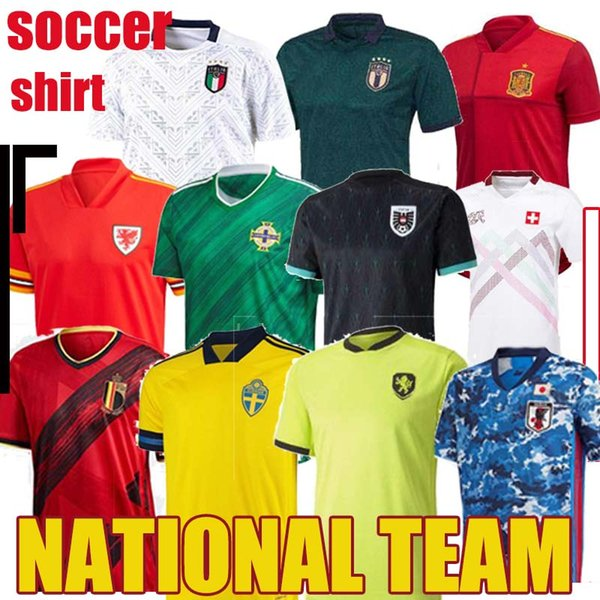 2020 NEW Ireland Austria Released national team Northern Wales Soccer Jersey 2021 BALE Shirts Italy Japan Belgium Spain Maillot Camiseta