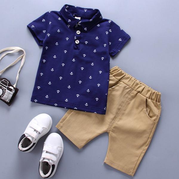2019 Erkek Giysileri Set Yaz Bebek Pamuk Çapa Baskı Bebek giyim Seti Lacivert Beyaz T Shirt Şort 1-5 Yıl Toddler Çocuklar