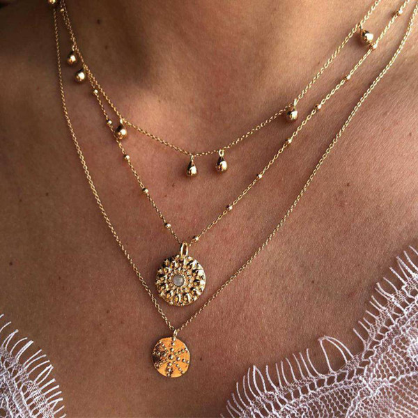 3 Layers Geometry Pattern Crystal Pendant Necklaces Gold Women Seashell Multilayer Choker Necklace Bohemian Jewelry Wholesale