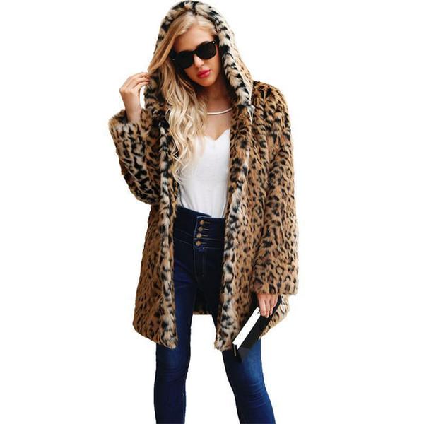 Pop Womens Ladies Winter Fluffy Faux Fur Coats Leopard Printed Warm Jacket Plus Size Shaggy Hooded Coat Long Sleeve Outerwear