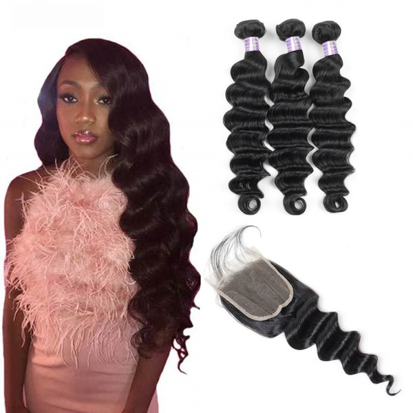 Yaki Straight Brazilian Human Hair Bundles With Closure 4*4 Water Wave Peruvian Hair Loose Deep Wave Indian Virgin Hair Extension Body Wave