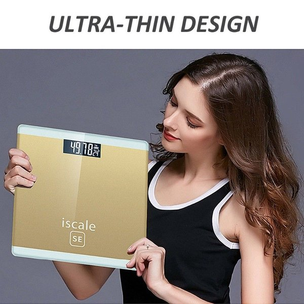 Banyo Terazi Kat Vücut Akıllı Elektrikli Dijital Ağırlık Sağlık Denge Ölçeği Sertleştirilmiş Cam LCD Ekran 150 kg / 50g