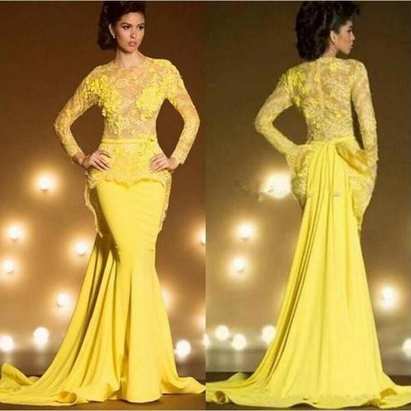 Abiti da sera a sirena Dubai Arabia Saudita 2019 Abiti da ballo formale giallo sexy Manica lunga in pizzo caftano robe de soiree