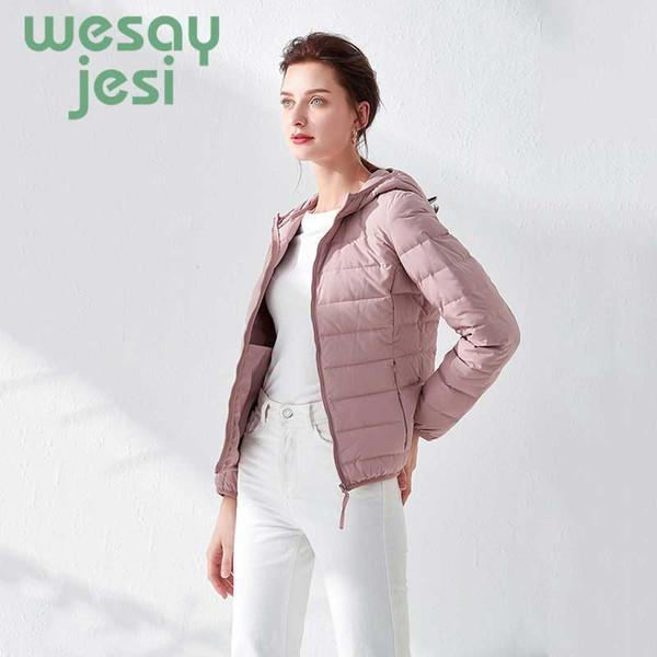 2019 NOVO 90% de pato branco para baixo Casacos casuais mulheres Sólidas Outono para baixo casaco feminino zip bolso jacket parkas plus size