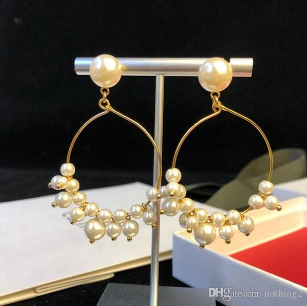 Birden inci Çıtçıt kadınlar banket takı Valentine ile lüks düğün tasarımcı takı küpe 18 ayar altın kaplama çember küpe