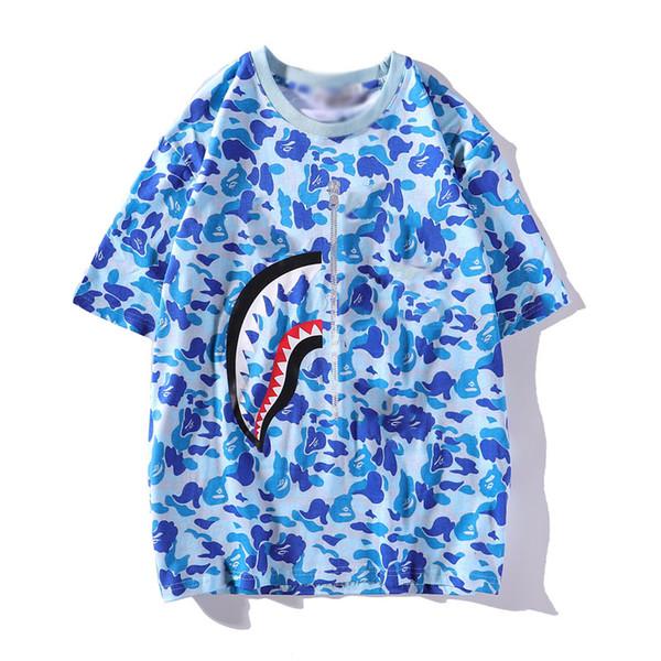 Shark tshirt hot mens designer Tshirt brand men women couple camouflage Tshirts luxury cotton street hip hop T shirt fashion wild T-shirt