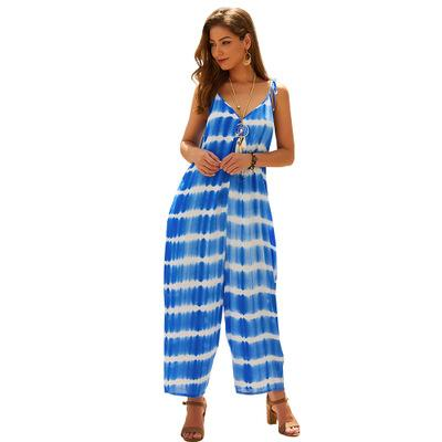 2019 Fashion New Summer Women's Jumpsuits,Blue Colour Sexy Spaghetti Strap Printed Rompers,Loose Style,Beach Leisure