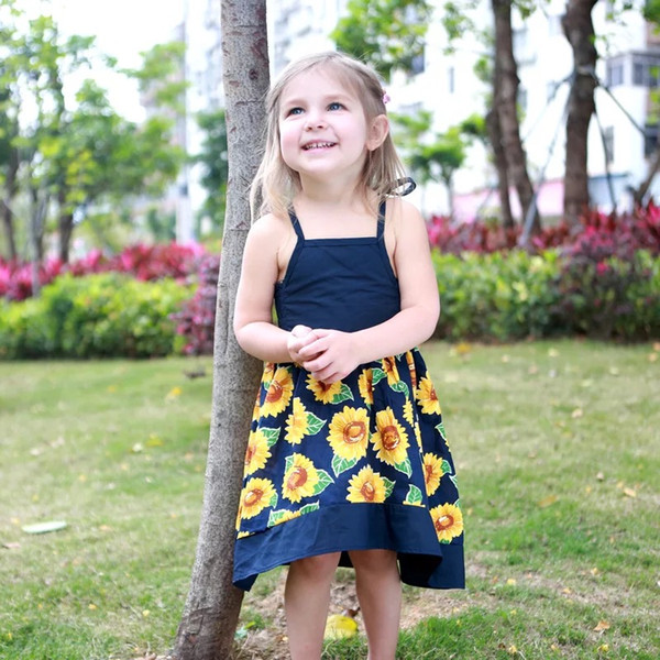 a7ec8c7379cb Sunflower baby girl dress Hot Summer Cotton Baby Girls Beach Dress SUNFLOWER  print Lace sling princess skirt baby clothing