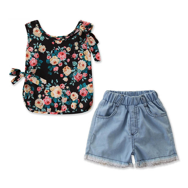 Ins girls outfits toddler girl clothes girls suits summer vest tops+lace jeans shorts kids designer clothes girls sets kids clothes A5849