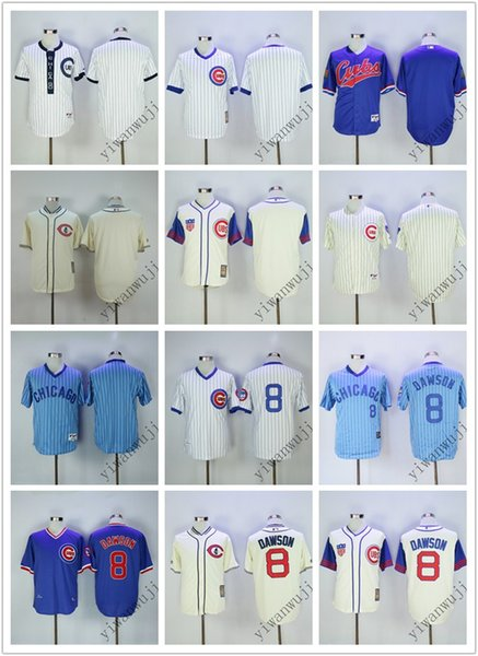 timeless design 8179b bf870 2019 Cheap Cubs Blank/8# DAWSON White Blue Baseball Throwback Jerseys Shirt  Stitched Top Quality! From Yiwanwuji, $28.0 | DHgate.Com