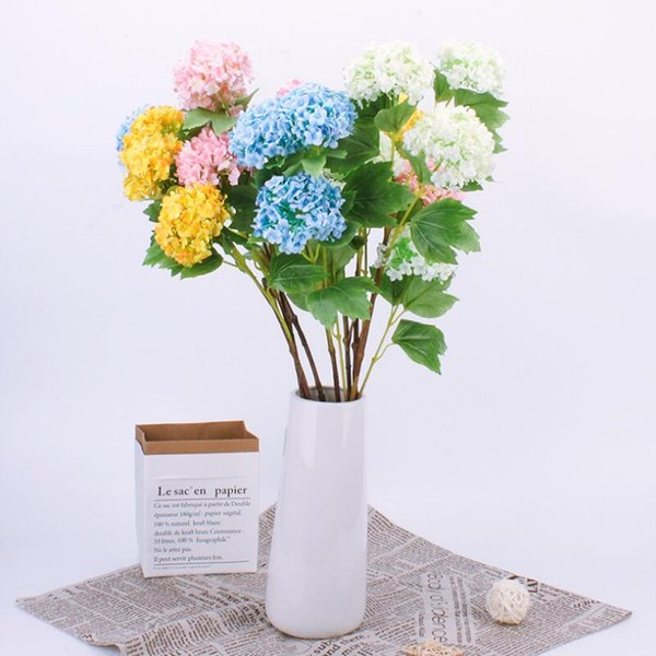 6 Heads Artifical Snowball Silk Flowers Small Bouquet Flores Wedding Party Festive Home Party Decorative Flowers Supplies Wholesale 0027FL