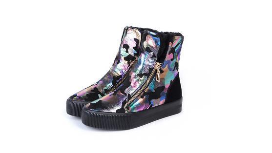 Winter women's flat bottom with fleece thickening graffiti zip women's boots short tube casual cotton boots snow boots