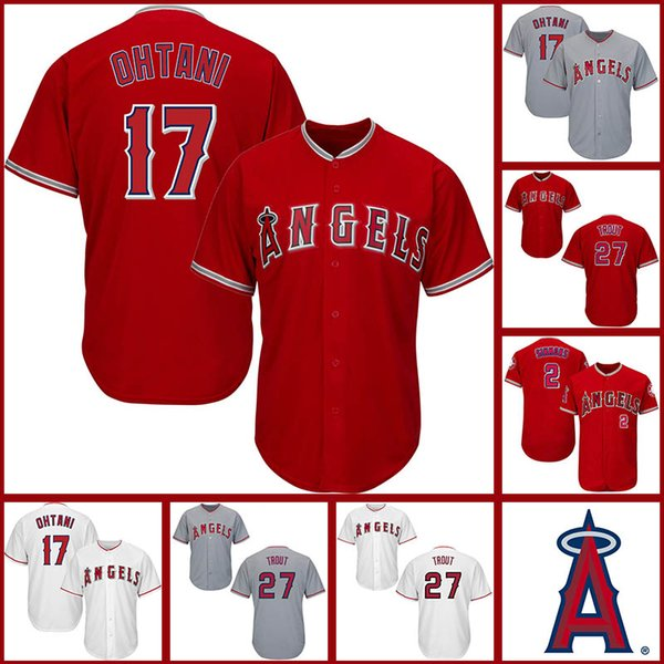 Los Angeles 17 Shohei Ohtani Angels 2 Andrelton Simmons Anaheim 27 Mike Trout Rosso Bianco cucito Mens Maglie
