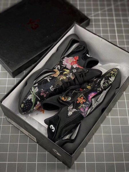 whit box good quality y-3 qasa x kaiwa chunky black flower sneakers for y-3 yohjiyamamoto fashion casual runner sports sneakers size 36-45