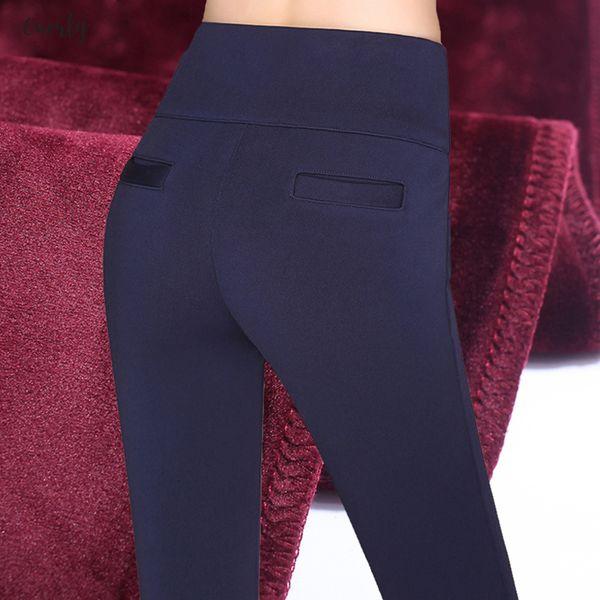 Espesar pantalones del lápiz Warm Plus Blue Velvet mujeres Pantalones de invierno de peso pesado Negro rojo de talle alto estiramiento Mujer Fleece Oficina Pantalon