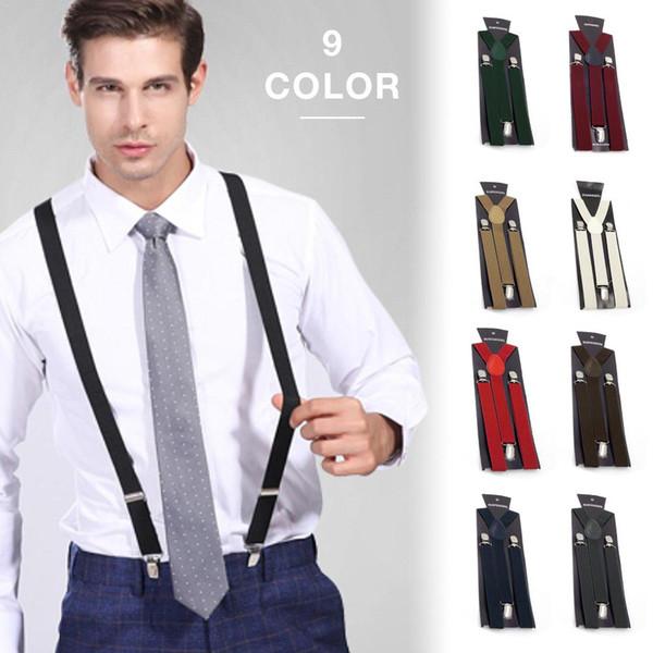 More Color Elastic Leather Suspenders Men 3 Clips Braces Vintage Mens Women Suspender For Trousers Wedding For Skirt