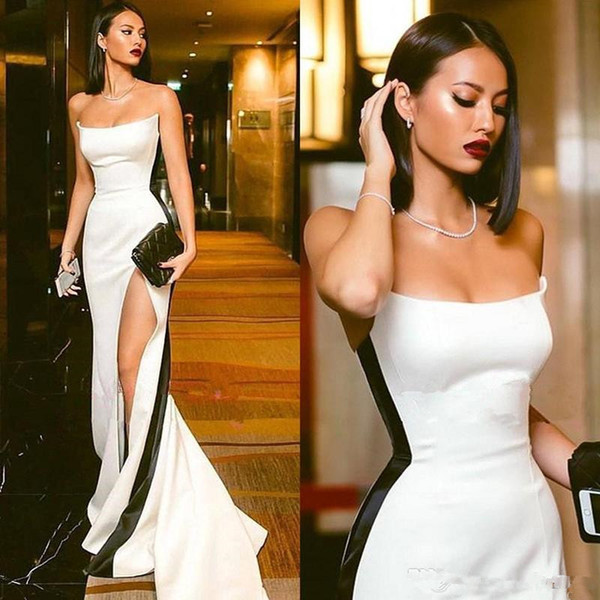 2019 Sexy Strapless Black and White Evening Dresses High Side Slit Mermaid Prom Dresses Sleeveless Sweep Train Cheap Party Gowns