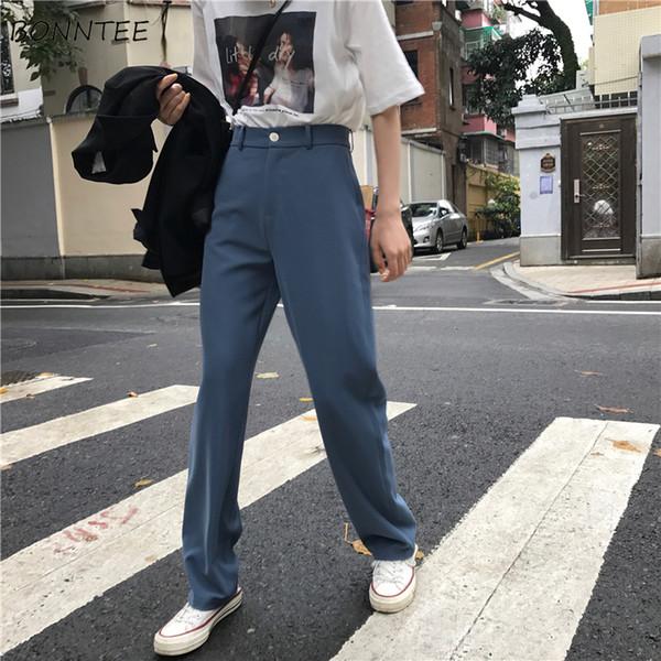 Pants Women Retro High Waost Solid Color Leisure Pant Spring Womens Korean Capris Elegant All-match Trouser Ladies Button Pocket LY191217