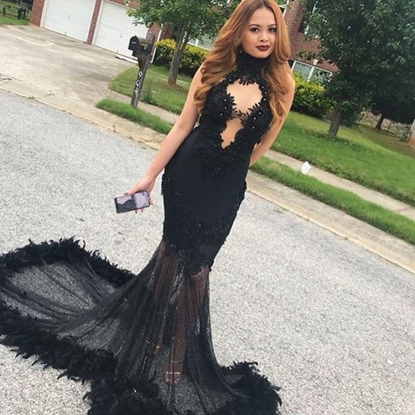 Sexy Back Mermaid Long Prom Dresses 2019 New Sleeveless Sweep Stain Feather Beaded Illusion Formal Evening Dress Party Gowns Custom Made