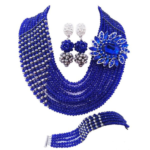 Gorgeous Royal Blue Silver Plated African Anniversary Women Crysral Beads Necklace Jewelry Sets 10C-CJZ-47
