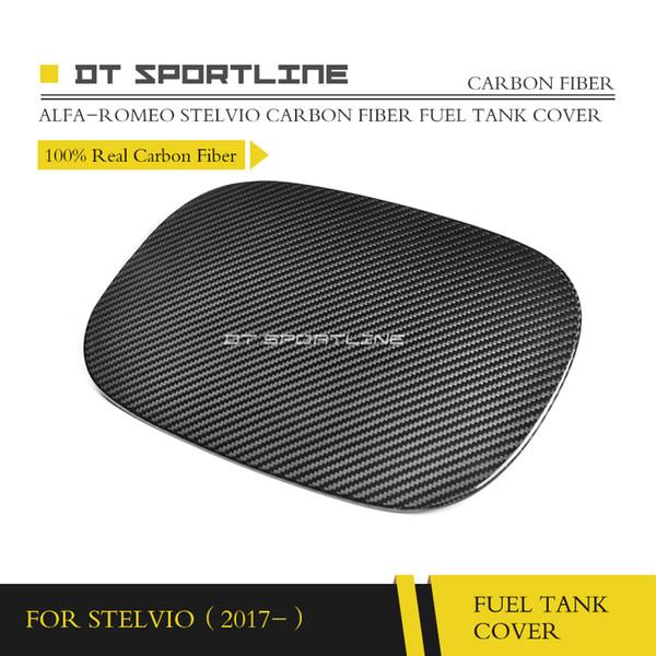 For Alfa Romeo Stelvio SUV Giulia Carbon Fiber Fuel Tank Cover 100% Real Carbon Decoration Car Styling 2017- Sports Cars