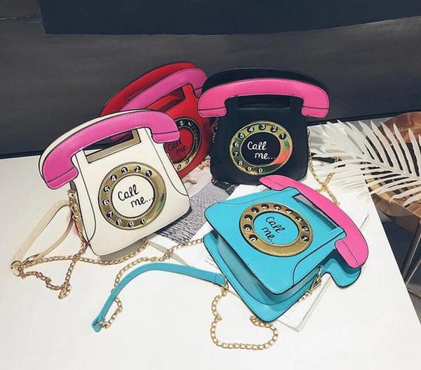 50pcs 2019 Shoulder Bag Women Design Personal Telephone Shaped Cross body Bag 4Colors Size
