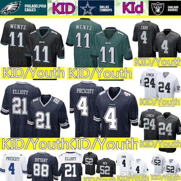 best service d8435 0cf4c 2019 Kid 11 Carson Wentz Philadelphia Eagles Jersey Youth 4 Dak Prescott 21  Ezekiel Elliott Dallas Cowboys KID Raiders 4 Derek Carr 24 Lynch From ...