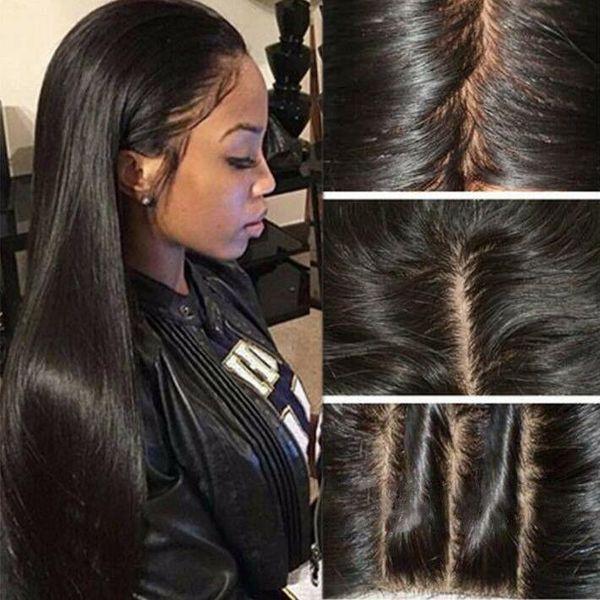 9A Pre plumé avant de dentelle perruque Bangs Silky droite Vierge pleine dentelle perruques de cheveux humains brésilienne pour les femmes noires avec des cheveux de bébé