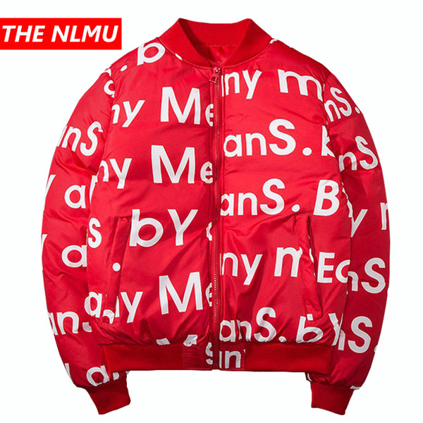 Red Winter Bomber Jacket Men Letter Printed Hip Hop Jacket Parkas Harajuku Streetwear Baseball Thick Casual Coats WE333