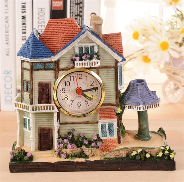 Building alarm clock European creative house desk clock craft pendulum birthday gift bedroom bell Bedside ornaments A2195c