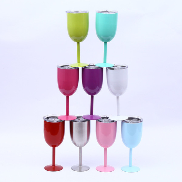 Drop Shipping New 10oz Glass Stainless Steel Double Wall Insulated Metal Goblet With Lid Tumbler Wine Mugs Q190525