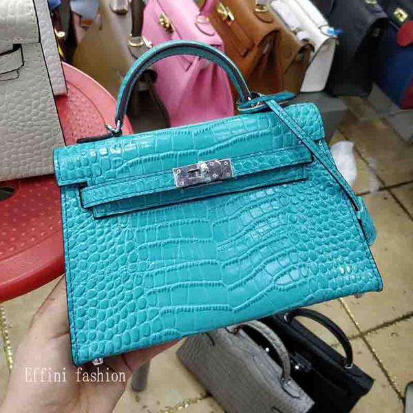 2019 New Echtes Leder Frauen Handtasche Marke Hohe Qualität Famouse Damen Designer Luxus Handtaschen Geldbörsen Weibliche Krokodilkupplung Crossbody Taschen