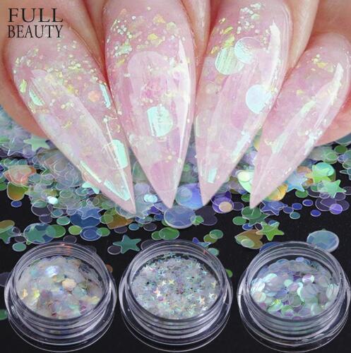 top popular Full Beauty AB Chameleon Color Sequins Nail Art Glitter Flakes UV Gel Polish Star Heart Flower Paillette Decor Tools CHAB01-15 2020