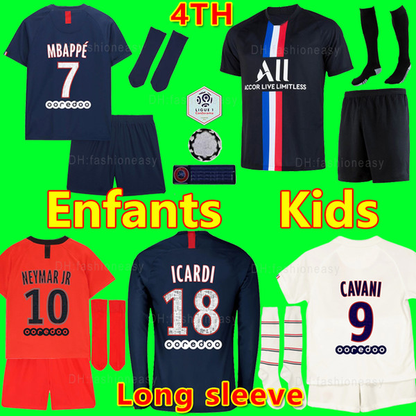top popular Maillots de football kits 19 20 PSG enfant soccer jerseys 2019 2020 Survetement MBAPPE ICARDI 4th shirt psg kids sets maillot de foot Camisa 2020