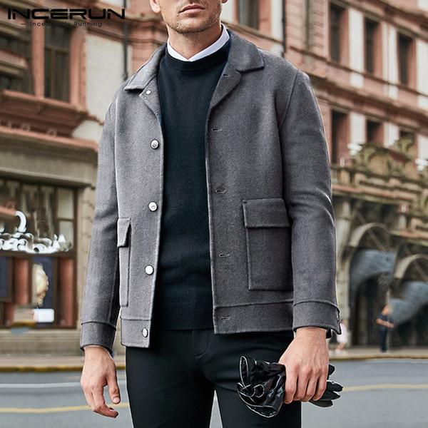 incerun winter men jackets woolen coats long sleeve faux wool solid button streetwear fashion trench men overcoat 2019 windproof