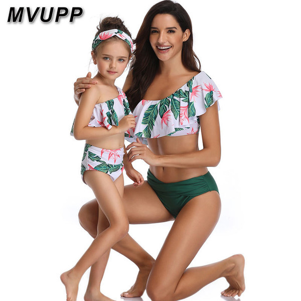 Mother Daughter Swimsuit Family Matching Outfits Swimwear Mommy And Me Clothes Mom Baby Bikini Mama Look High Waist Summer Y19051103