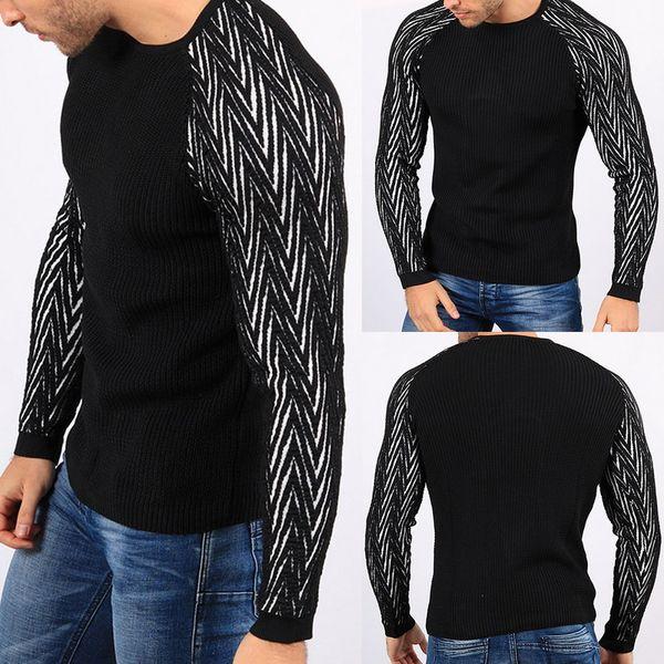 Patchwork Uomini Maglione fatto a maglia tirare Slim O Collo Tirare vestiti di maglieria autunno casual Tricot Tops Maglione Homme casaco masculino