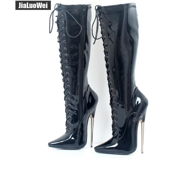18cm Black High Heeled Knee Boots Woman Solid Exotic Fetish Sexy Metal Thin Heel Lace Up Single Soles Women Nightclub Pole Shoes Man