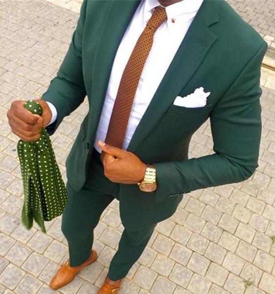 Yeşil Düğün Erkekler 2018 Iki Parçalı Damat Smokin Takım Elbise Çentikli Yaka Trim Fit Erkekler Parti Suit Özel Made Groomsmen Suits (Ceket + Pantolon)